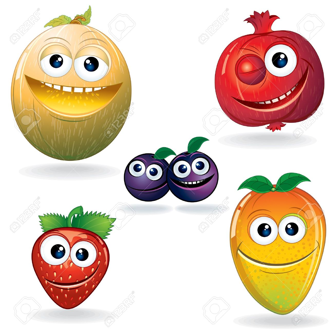 Set Of Cute Cartoon Vector Fruits Clip Art Serie Royalty Free.
