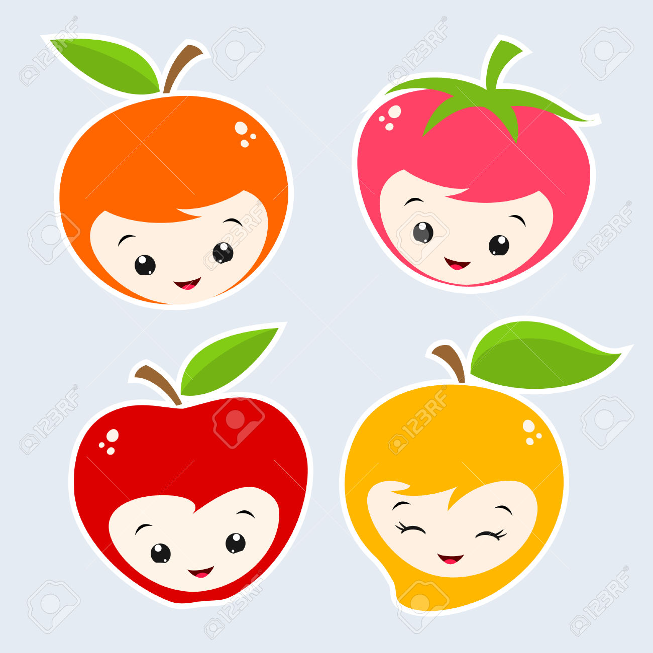 Cute Cartoon Fruit Faces Royalty Free Cliparts, Vectors, And Stock.