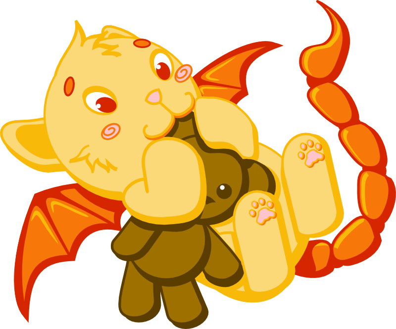 Baby Manticore with Teddy by wolframlogistics on DeviantArt.