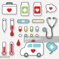 Cute Icon Set Healthcare and Medicine(medical) Stock Vector.