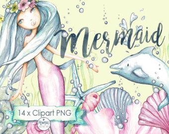 Cute mermaid clipart.