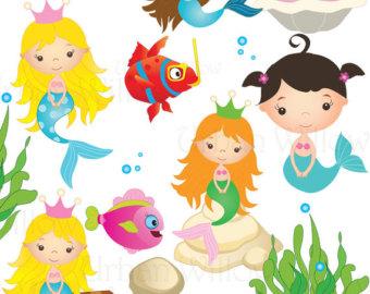 sea animals stickers, sea clipart, mermaid clipart, planner.