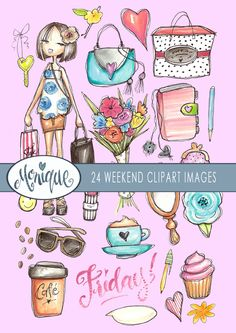 Mermaid Girl Clipart, hand painted watercolor, dolphin, shells.