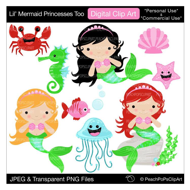 cute mermail clipart stickers #16