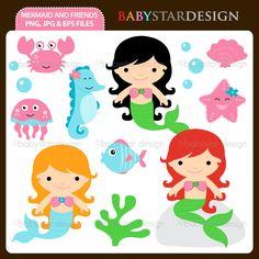 Cute Mermaid Clipart, Mermaid clipart PNG file.