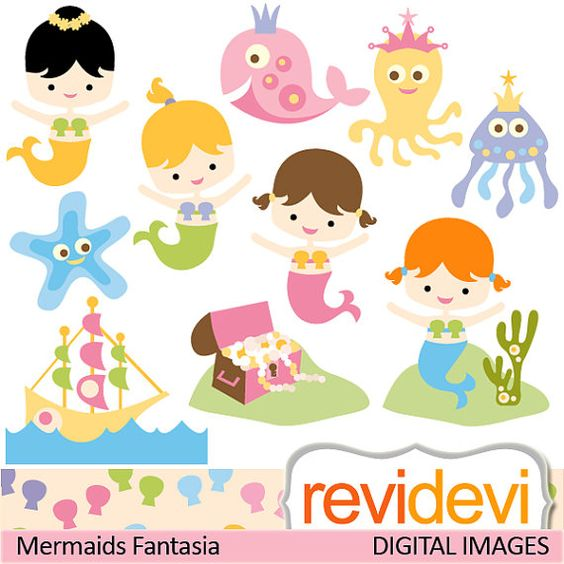 Cute mermaid clipart / digital images / Clipart Mermaids Fantasia.