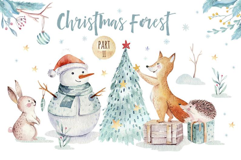 Cute cartoon Watercolor Christmas Clipart, merry christmas clip art, new  year winter watercolor, 2019 holly jolly , baby deer digital card.