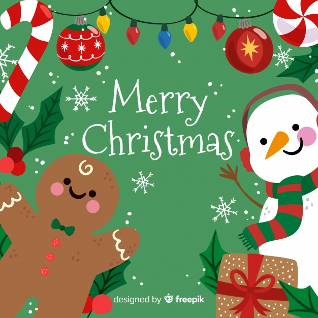 Cute merry christmas background with snowman and gingerbread Vector.