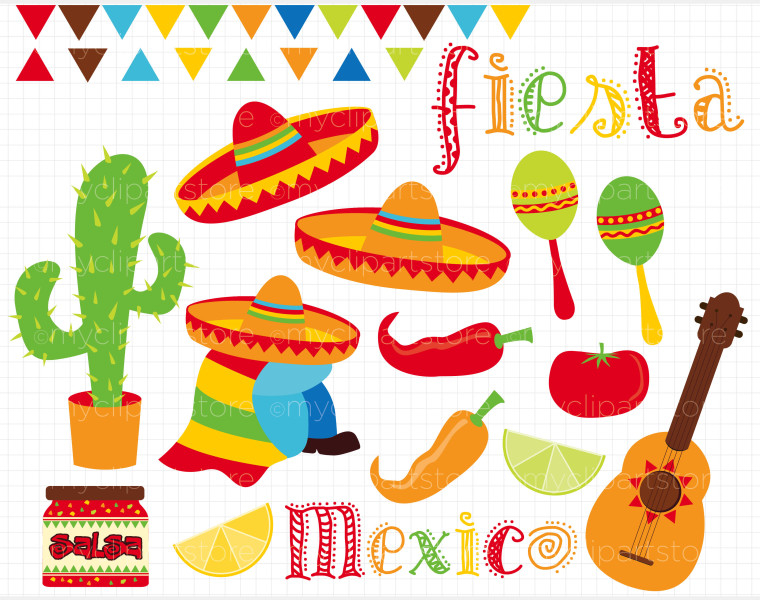 fiesta cute digital clipart, spanish mexican clipart, mexican.