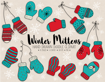 Hand Drawn Mittens Clipart. Nordic Doodle Winter Clothing Clip Art..