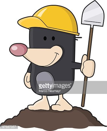 cute mole with shovel Clipart Image.
