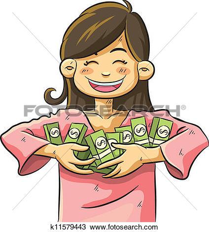 Clipart of Cute Girl Holding Money k11579443.