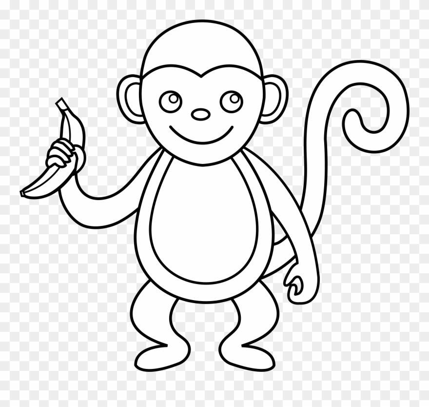 Cute Monkey Line Art.