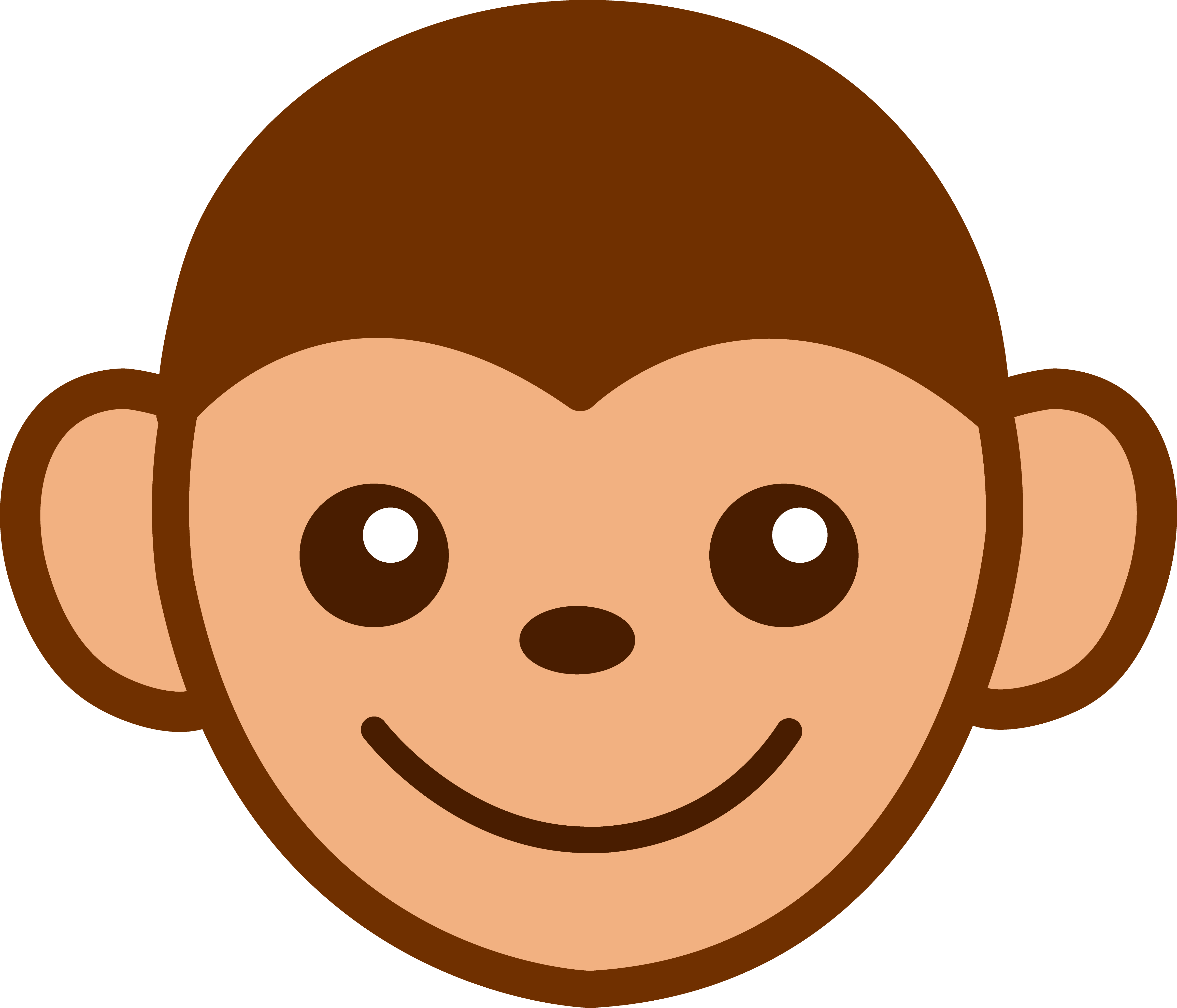 Cute brown Monkey Face Clip Art free image.