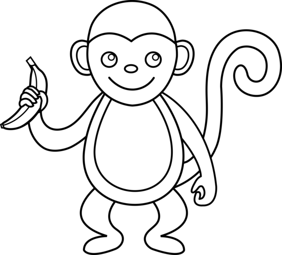 Cute Monkey Clipart Black And White.