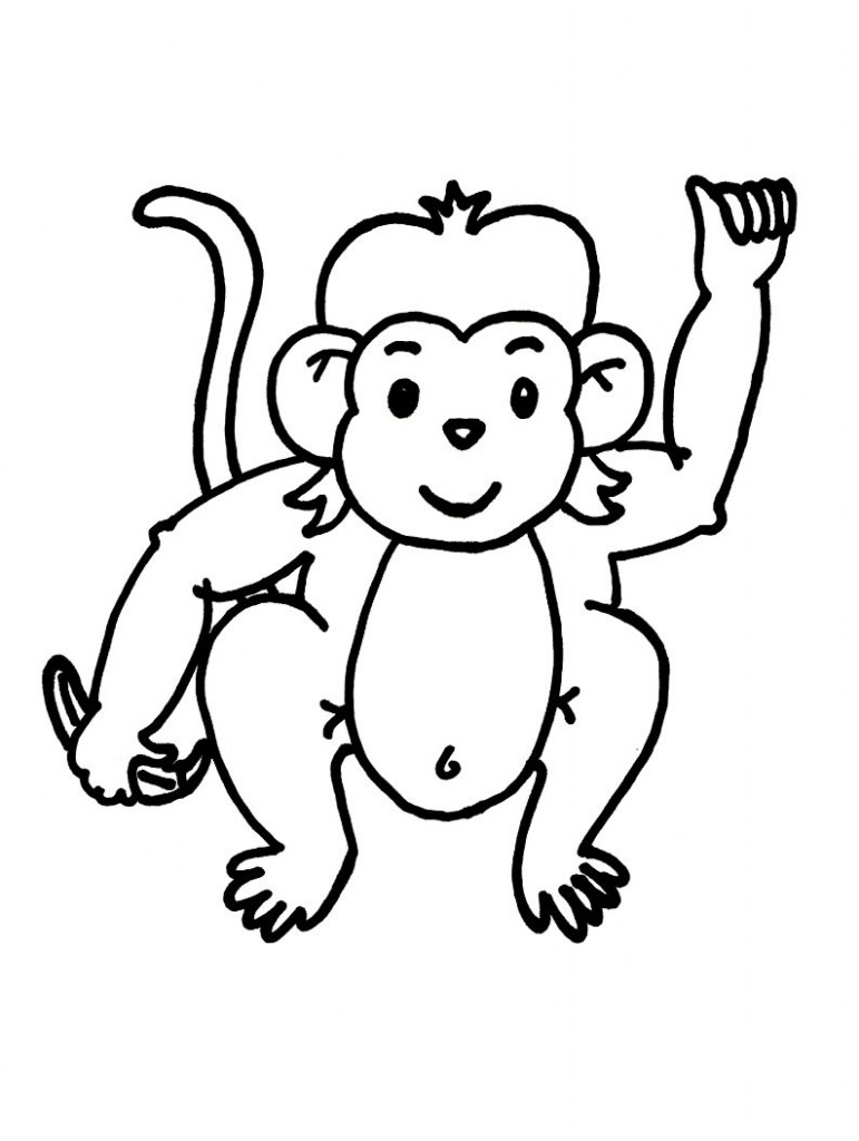 Cute Monkey Clip Art Black And White.