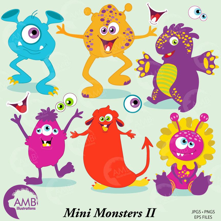 Monster clipart, cute monsters clipart, vector graphics, digital clipart,  AMB.