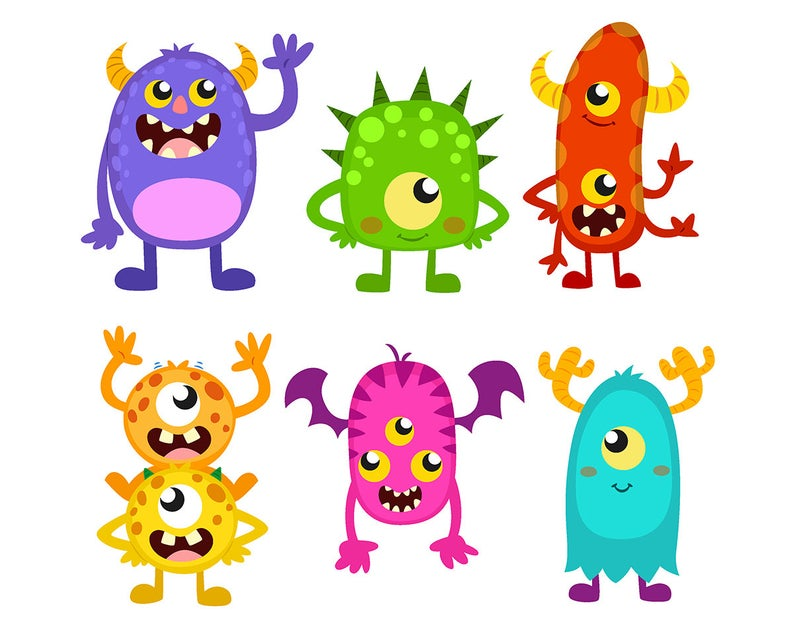 SALE! Monster CLIPART Cute Funny Monsters Cliparts Monster Party Clip Art  Invitations Printable Graphic instant download Scrapbooking.