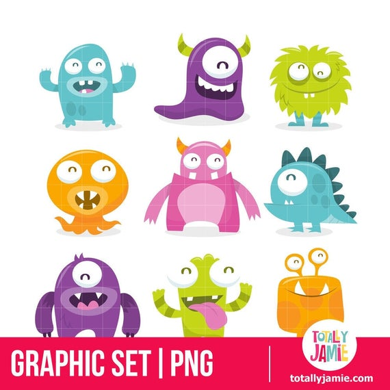Little Monster Clip Art / Little Monster Clipart / Cute Monster Clipart /  Cute Monster Clip Art / Monster Clipart / Monster Clip Art.