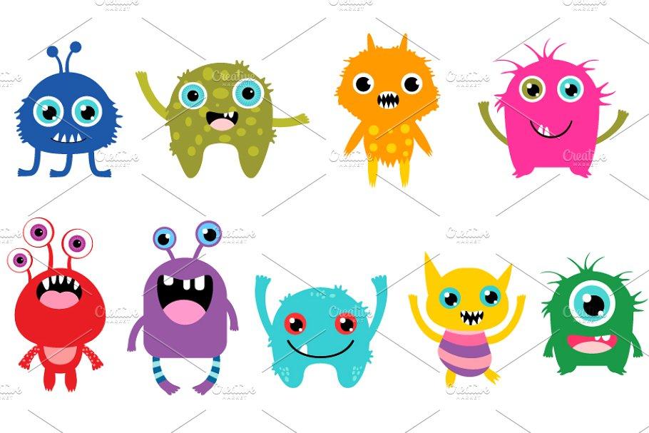 Cute little monsters clipart set.