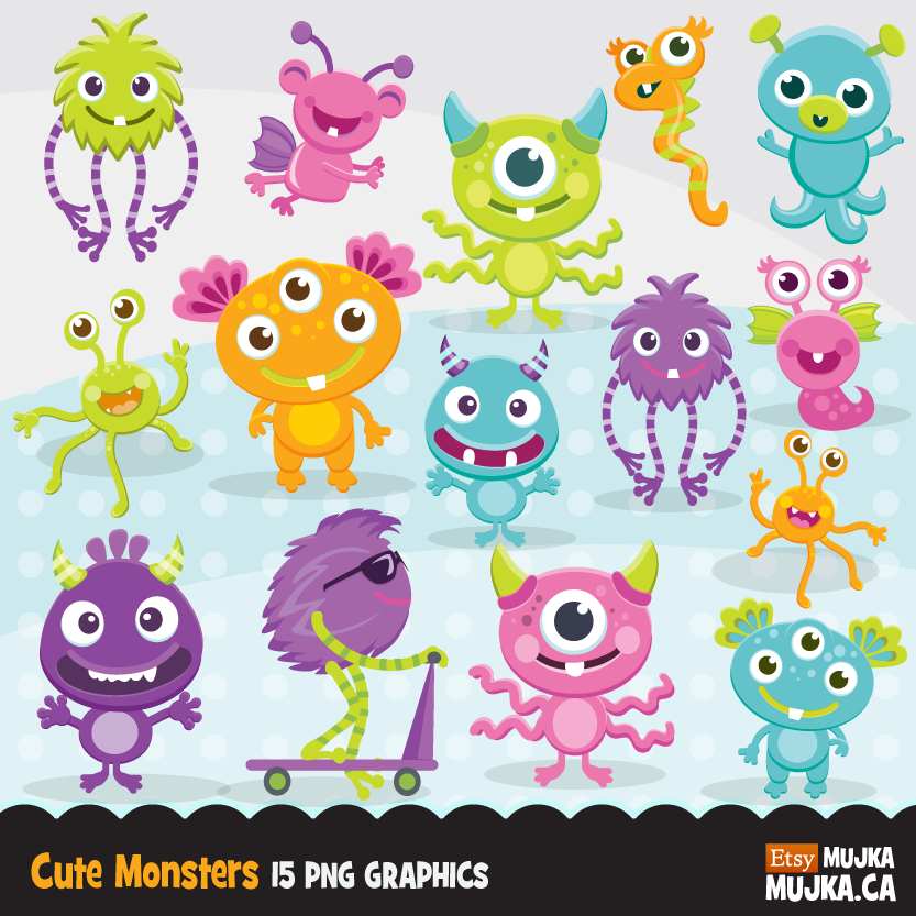 Cute Monsters Clipart. Silly Monster graphics.