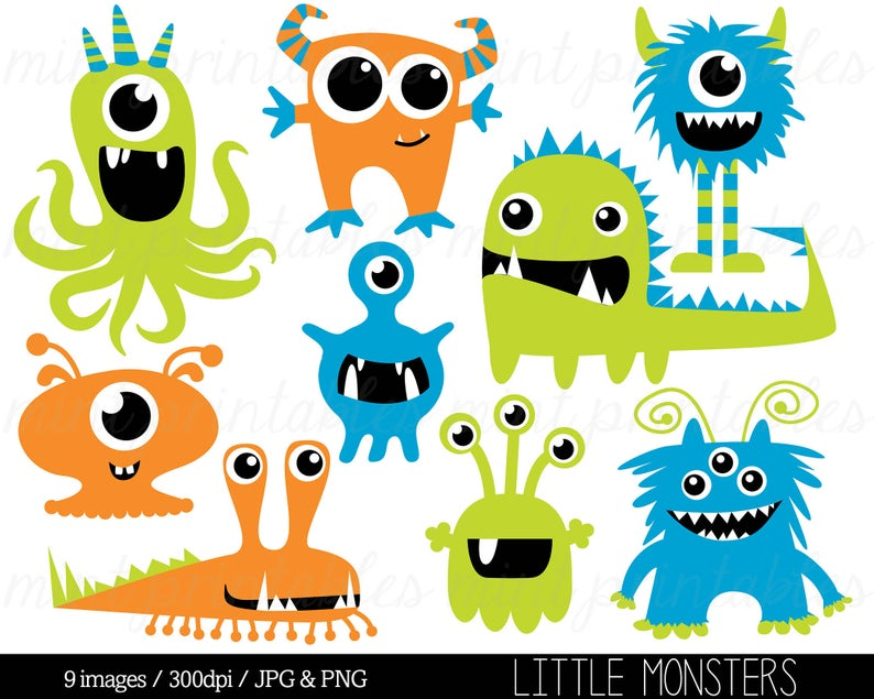 Monster Clipart, Monsters Clip Art, Birthday Clipart, Cute Monster Party,  Blue Green Orange.