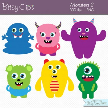 Cute Monsters Clipart Digital Art Set Commercial Use Clip Art Set 2.