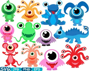 Cute Monsters clipart svg Silhouettes animals Halloween Space alien t.