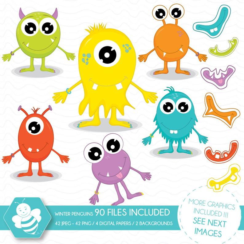 Monsters clipart, Cute monsters clipart, Monster Party, Monsters Theme,  Birthday Monsters, commercial use, vector graphics, digital, CL0007.