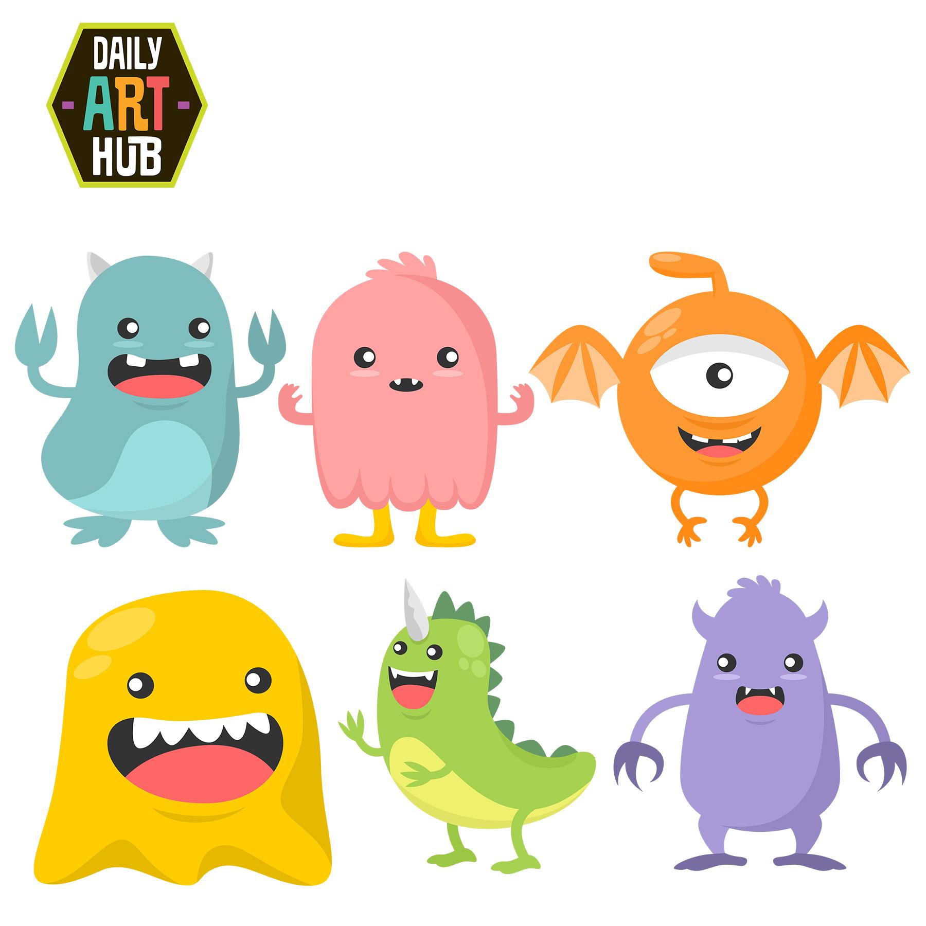 Cute Monsters Clip Art Set.