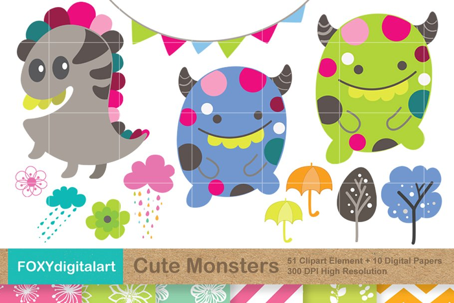 Cute Monsters Clipart and 10 Papers.