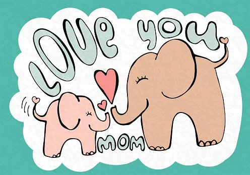 Love you mom, greetings card with cute animals, mothers day.