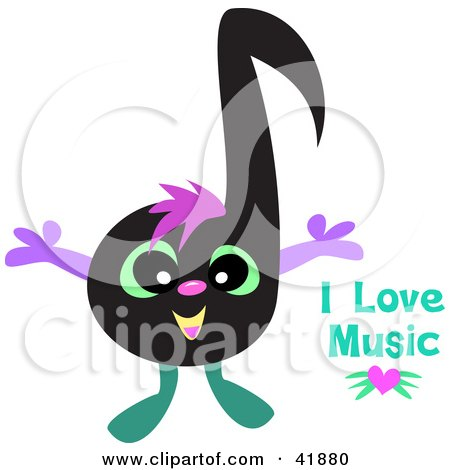 Cartoon of a Cute Music Note Couple over a Pink Heart.