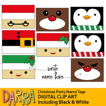 Christmas Party Name Tags Clip Art.