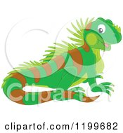 Cartoon of a Cute Green and Yellow Newt.