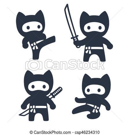 Cute cartoon ninja cat set.