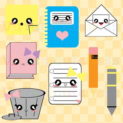 Kawaii Office Clipart Stationary Cute Clipart Notebook.