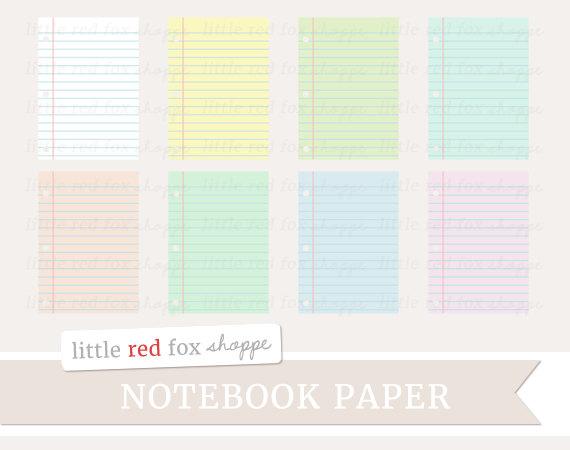 Notebook Paper Clipart School Clip Art Office Supplies Pastel.