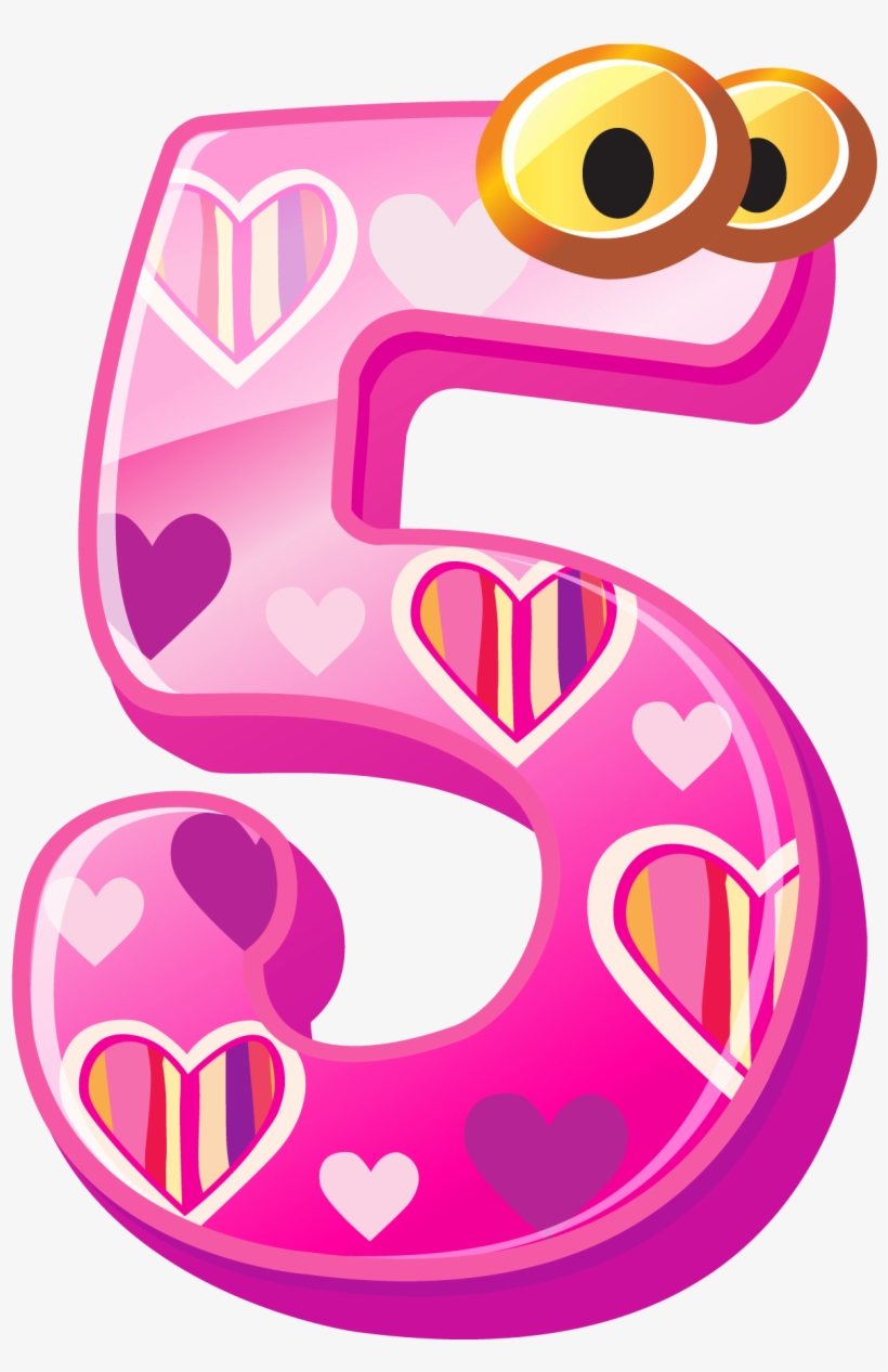 Cute Number Five Png Clipart Image.