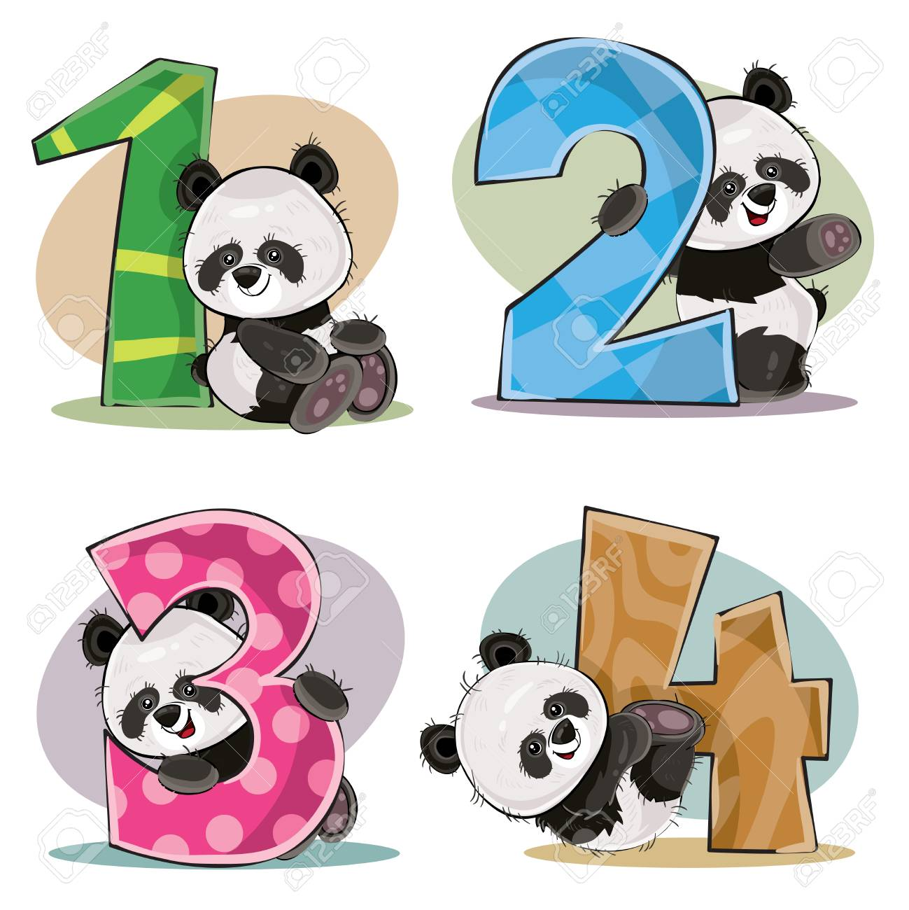 Set of cute baby panda bears with numbers vector cartoon illustration.