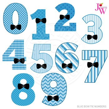 Blue Bow Tie Numbers Cute Digital Clipart, Boy Number Graphics.