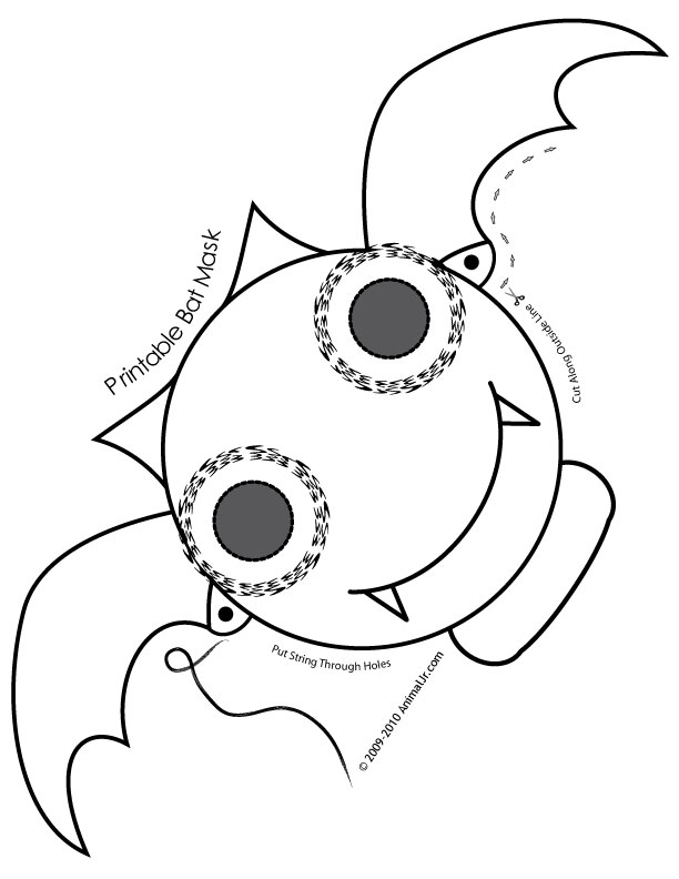 Cute Printable Halloween Animal Paper Masks bat.