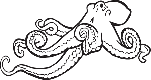 Octopus Clip Art Black And White.