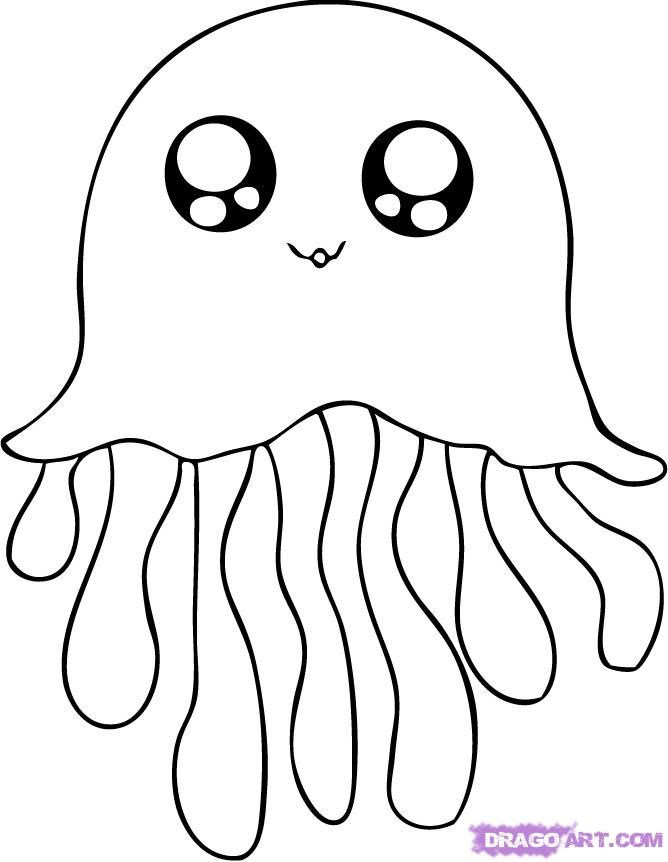 How to draw a jellyfish  Step by step Drawing tutorials