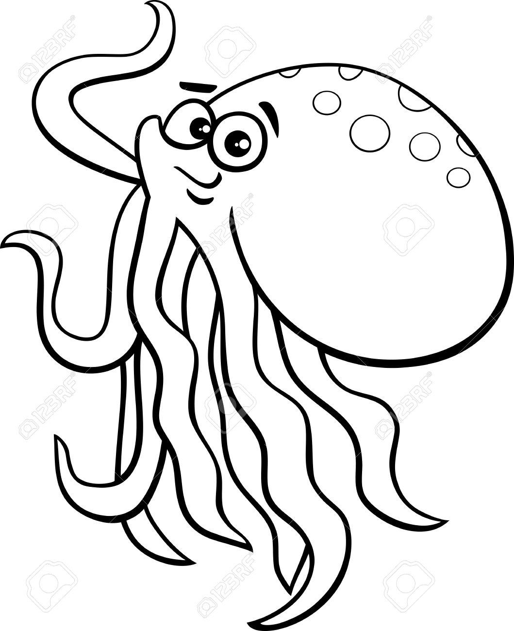 Black And White Cartoon Illustration Of Cute Octopus Sea Animal.
