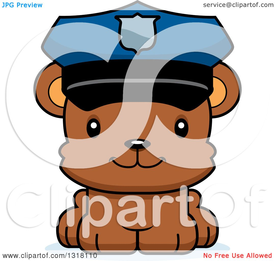 Animal Clipart of a Cartoon Cute Happy Bear Cub Police Officer.