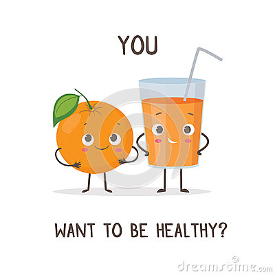 Funny Characters Orange And Glass Of Orange Juice Stock Vector.