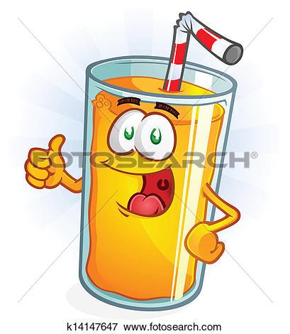 Clip Art of Orange Juice Cartoon Thumbs Up k14147647.