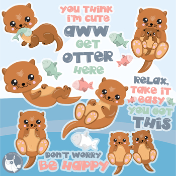 Sale Happy otter clipart commercial use, vector graphics, digital.