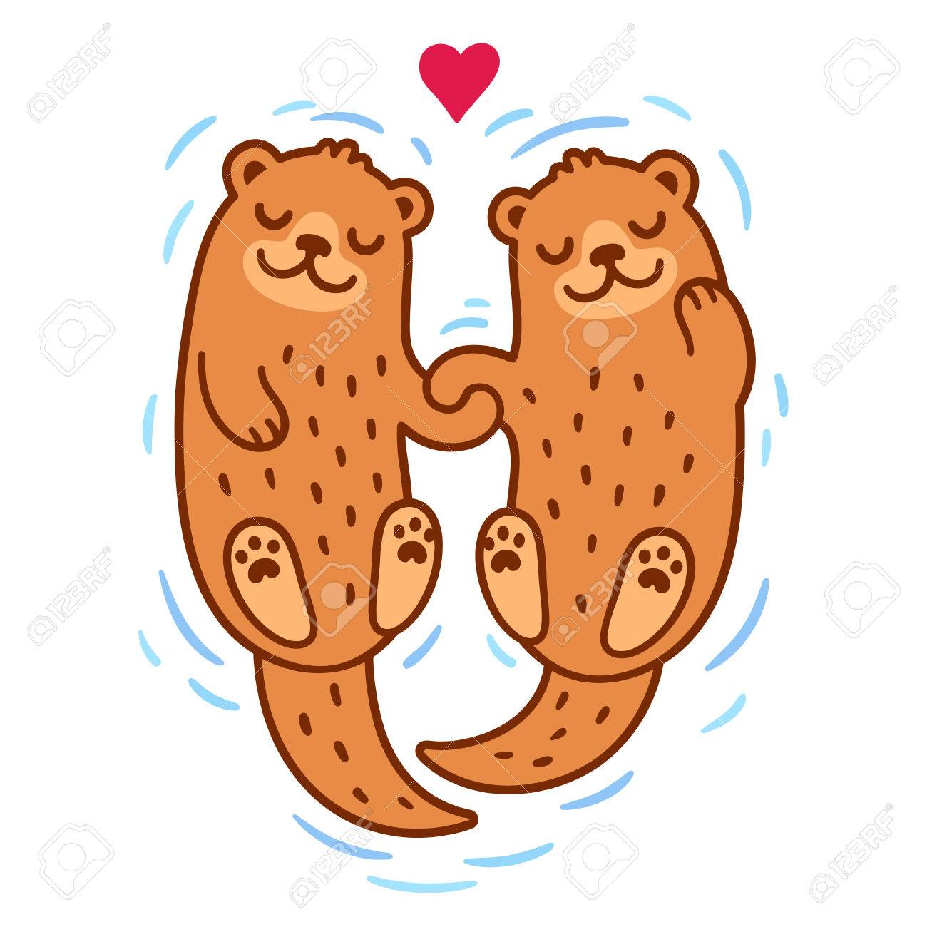 Cute cartoon otter couple holding hands. Valentine's Day greeting...